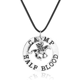 Discount percy jackson necklace Hot Movie Fashion Percy Jackson Camp Half Blood Necklace Flying Horse Pendants Necklaces Antique Silver Charm Jewelry Gi