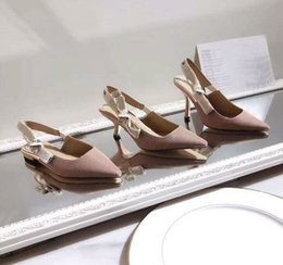 Wholesale Hot Sale High End Women Stiletto Heels High Heels Slingback Pumps in Nude Technical Fabric with Ribbon Size