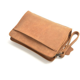 Discount clear mobile phone cases - 100% Genuine Leather Men Business Bags Wallet Mobile Phone Case Cigarette Purse Pouch First Layer Cowhide Male Handy Bag