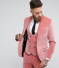 e41e5722fd Winter Groom Tuxedos Pink Velvet Mens Wedding Suits Slim Fit 3 Pieces Men's  Tux Business Formal Office Suits (Jacket+Vest+Pants)