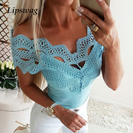 Wholesale Lipswag Women Lace Hollow Out Slim Fit T Shirt Summer Sexy Off Shoulder Solid t shirt Casual Short Sleeve Slash Neck Shirts Tops
