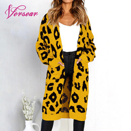 Wholesale long christmas cardigan sweater for sale - Group buy Women Christmas Knitted Cardigan Sweater Leopard Print Long Cardigans Pockets Slim Autumn Winter Outerwear Knitwear Sueter Mujer LY191217
