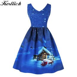 c161ff03d2 Kostlich Brand Autumn Winter Christmas Dress 2018 V-neck Big Swing Hepburn  1950s Vintage Evening Party Dresses Plus Size Dress Q190429