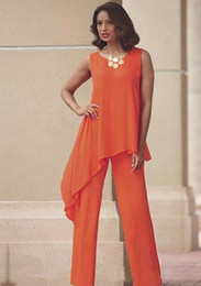 Mother bride suMMer suits online shopping - Orange Two Pieces Mother of the Bride Pant Suits For Wedding Jewel Neck Chiffon Wedding Guest Dress Asymmetric Plus Size Formal Dresses