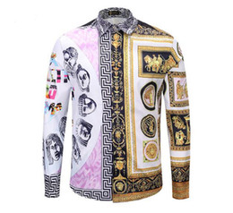 Shirt Korean Designs Australia - Men's new Korean version of the boutique special European and American personality spring head 3D print long-sleeve shirt design   M-2xl