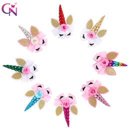 "Silicone Hair Clips Australia - 8 Pieces lot 8"" Unicorn Hair Bows With Clips For Girls Kids Plain Ribbon Glitter Ear Flower Bows Rainbow Hair Accessories J190507"
