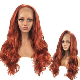 replacement hair NZ - Long Copper Red Natural Wave Synthetic Lace Front Wig Pre-Plucked Wavy Hair Replacement Wigs 26inch for Black Women