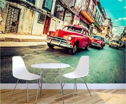 vintage car prints NZ - custom size 3d photo wallpaper living room mural retro-vintage car Havana street 3d picture sofa TV background wallpaper non-woven sticker