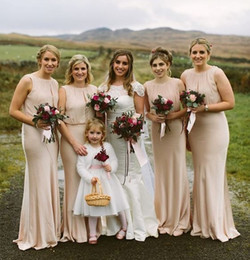 $enCountryForm.capitalKeyWord Australia - Beach Champagne Mermaid Bridesmaid Dresses 2019 Jewel Floor Length Chiffon Draped Country Garden Wedding Guest Gowns Maid Of Honor Dress