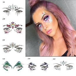 gems stickers Australia - 1PC Temporary Tattoo Sticker Face Jewelry Gems Rhinestone Decoration Party Festival Makeup Glitter Tattoos Body Art Stickers