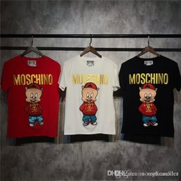 Wholesale 19ss New luxurious brand design moschinos piggy embroidery Tee Shirt Men Women Breatheable Fashion Streetwear Sweatshirts Outdoor T shirts