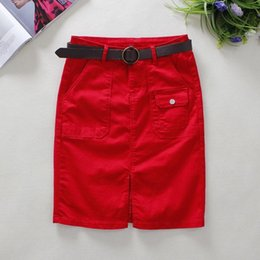 180e07b7a8 2019 Summer Red Jeans Womens Big Pockets Knee-length England Style Empire  Straight Solid Shorts Denim Skirts 2361 C19041601