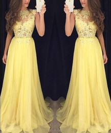 Black Evening Dresses For Ladies Australia - Light yellow prom Dress sleeveless evening dresses with lace appliques floor length party gowns for lady sweet girl 16