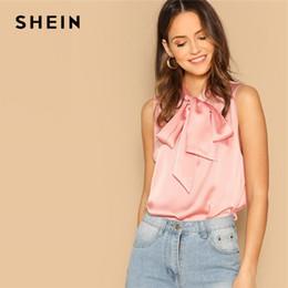 $enCountryForm.capitalKeyWord NZ - SHEIN Pink Tie Neck Sleeveless Elegant Workwear Satin Blouses 2019 Spring Women Tops And Blouses Bow Stand Neck