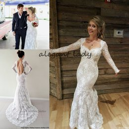 3ee1777c7 Sheer back ruched wedding dreSS online shopping - Sexy Backless Mermaid Wedding  Dresses with Long Sleeve