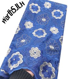 white swiss cotton voile fabric Australia - WorthSJLH Embroidered Dry Cotton Lace Fabric Swiss Voile Africa Lace Fabric Royal Blue White Nigerian Swiss Lace Fabric High Quality 2019