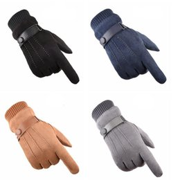 Suede glove men online shopping - Winter Outdoor Men Women Cycling Gloves Suede Plus Velvet Keep Warm Touch Screen Windproof Driving Mittens Guantes