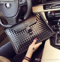 $enCountryForm.capitalKeyWord NZ - Factory direct selling brand men handbag woven men wrist bag business leather fashion hand envelope bag fashion woven leather mens shoulder