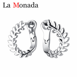 D shapeD jewelry online shopping - 100 Sterling Silver Ears Clip Earrings Have Piercing Rotating Leaves Shape for Women Contracted Plant Jewelry