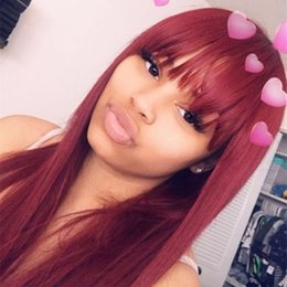 $enCountryForm.capitalKeyWord Australia - Wine Red 99J Silky Straight Lace Front Human Hair Wigs with Bangs Burgundy Virgin Brazilian Full Lace Wigs Bangs Pre Plucked Black Women