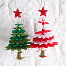 diy wind chimes Australia - 1pc Wind Chimes Christmas Tree Shape Non-woven Christmas Tree Pendant DIY Decorations Door Hanging Articles