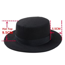 wide brimmed felt hat Australia - Fashion- Wool Pork Pie Boater Flat Top Hat For Women's Men's Felt Wide Brim Fedora Gambler Hats