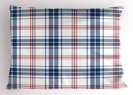 Wholesale Abstract Pillow Sham English Style Tartan Motif Old Fashioned Cultural Striped Display Decorative Standard King Size Printed Pil Pillow Case