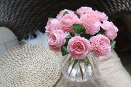 Großhandel Künstliche rosa Rose gefälschte Pfingstrose stammt Faux weiße Blume Hochzeitsstrauß blau Home Decor Herzstück Blumenschmuck