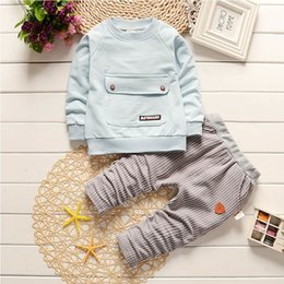 Full Baby Suits NZ - good quality 2019 spring autumn baby boy clothing sets cotton full sleeve infant suit tops+Striped trousers Toddler boys tracksuit