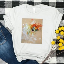 female graphic tees Australia - Women Shirt Womens Summer Oil Painting Golden Fish Casual Short Sleeve Female Tshirt Tees Printed Graphic Top Clothes T-shirt