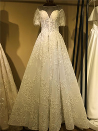 short ball gown wedding dresses sleeves Australia - Luxury Lace Appliuqed Poet Short Sleeves Ball Gown Wedding Dresses Real Pictures Vintage Beaded PLus Size Bridal Gown