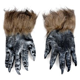 Black wolf mask online shopping - 1 Pair Wolf Gloves Halloween Mask animal mask set werewolf Masquerade Wolf Size L Color Black