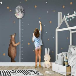 Korean Cartoon Wallpaper Australia - custom photo wallpaper high quality non-woven Nordic simple cartoon bear moon measurement height children room background wall