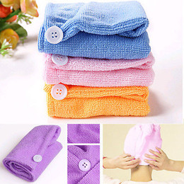 $enCountryForm.capitalKeyWord Australia - Microfiber Magic Hair Dry Drying Turban Wrap Towel Hat Cap Quick Dry Dryer Bath make up towel