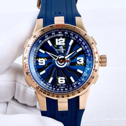 $enCountryForm.capitalKeyWord Australia - New Turbine Pilot A1085-1 Rose Gold Case Blue Dial Automatic Mens Watch Tachymeter Scale Appears Bezel Blue Rubber Sport Watches Hello_watch