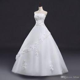 $enCountryForm.capitalKeyWord Australia - 2018 Length Strapless Applique Beads Wedding Dress Bridal Gown Custom Plus Size lace Up Back For Wedding Formal Occasion