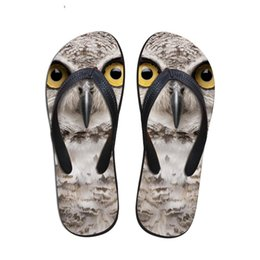 $enCountryForm.capitalKeyWord Australia - Customized Cool 3D Animal Owl Prints Men Flip Flops Summer House Slippers for Man Male Non-slip Beach Sandals Rubber Flats Shoe