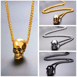 Wholesale Hip Hop Skull Pendant Necklace Stainless Steel Gothic Biker Rock Punk Jewelry For Men Jewelry Gift Gold Black silver Color