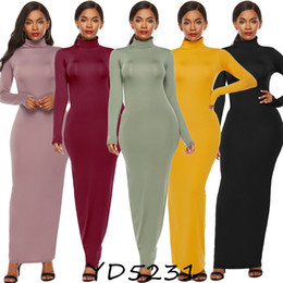 wine red bodycon dress UK - Turtkleneck Long Sleeve Autumn Maxi Dress Casual Women Bodycon Black Wine Red Ladies Dresses Party Club Dress Robe Plus Size 5XL