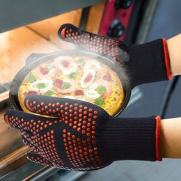 Silicone Finger Kitchen Gloves Australia - 500 Celsius Double-layer Heat Resistant Gloves Oven Gloves BBQ Baking Cooking Mitts In Insulated Silicone BBQ Gloves Kitchen Tools 2019