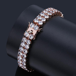 tennis jewelry for women NZ - Europe & USA Hip Hop Full Diamond Tennis Bracelets Double-row 18K Gold and White Gold CZ Zircon Wrist Chains Jewelry Gifts for Men & Women