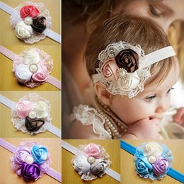 Wholesale Baby Girl Headbands Wear Flower Accessories Newborn Lace Hair Bands Girl Felt Flower Scarf Hair Baby Headband Party Headband