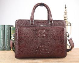 Genuine Crocodile Skin Leather NZ - Double zippers 100% genuine real crocodile head skin leather men business briefcase bag laptop bag official men free ship