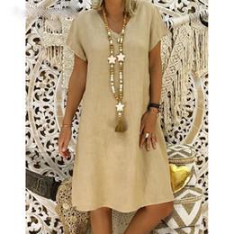 $enCountryForm.capitalKeyWord Australia - Women 2019 Summer Style Feminino Vestido T-shirt Cotton Casual Plus Size Ladies Dress Casual Linen Dress Hot Sales designer clothes