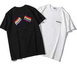 Wholesale 2019 New Tee bb cotton Colored flag letter logo embroidery short sleeve O neck T shirt men and women t shirt wear casual tee S XXL