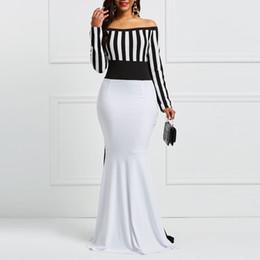 $enCountryForm.capitalKeyWord NZ - Clocolor Sheath Dress Elegant Women Off Sholuder Long Sleeve Stripes Color Block White Black Bodycon Maxi Mermaid Party Dress S19713