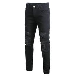$enCountryForm.capitalKeyWord UK - Men Skinny Stretch Jeans Pants Slim Fit Pencil Pants Vintage Zipper Denim Distressed Stretch Ripped Jeans