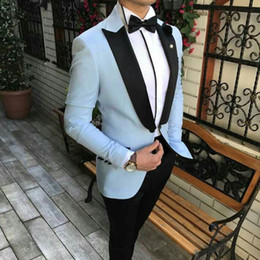 burgundy groom tuxedos Australia - Slim Fit Blue Groom Tuxedo for Wedding Man Suits Bridegroom Attire Black Peak Design Costume Homme Best Man Blazers 2Piece Terno Masculino