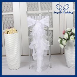 wedding chair wholesale Canada - CH010B wholesale 2017 custom made chiffon and organza white curly willow ruffled wedding chair cover with buckle