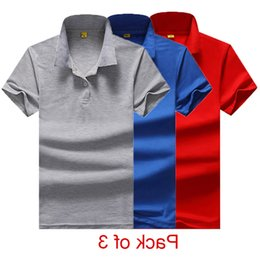 Solid Pack Australia - Summer Polo Shirt Men Cotton Casual Solid Poloshrits for Men Regular Pack of 3 Mens Polo Shirt Plus Size M-4XL